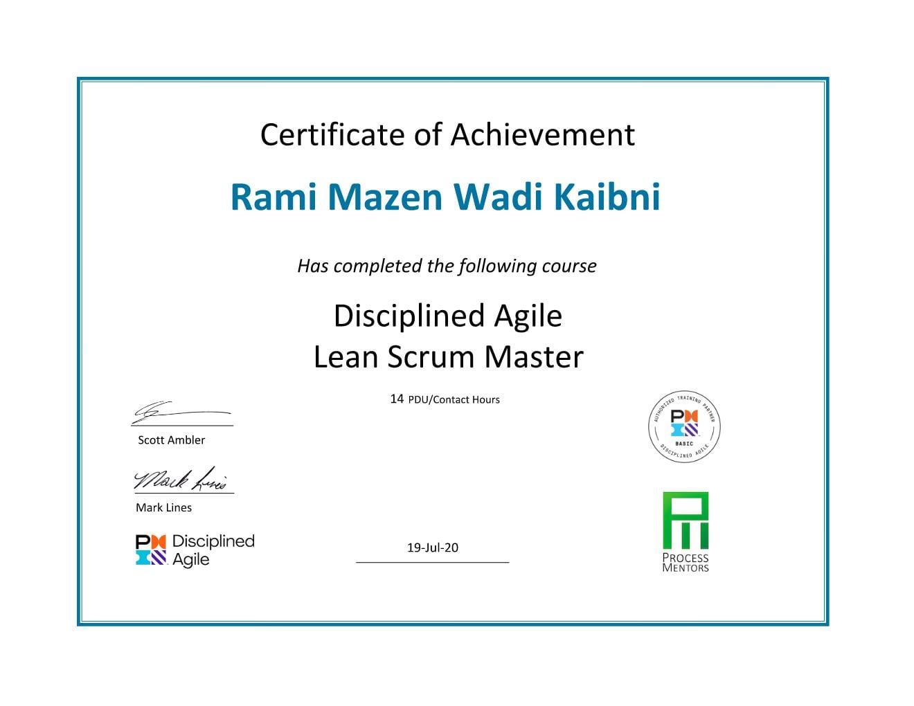 DA Course Certificate