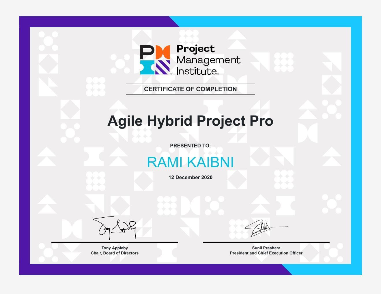 Agile Hybrid Project Pro Certificate