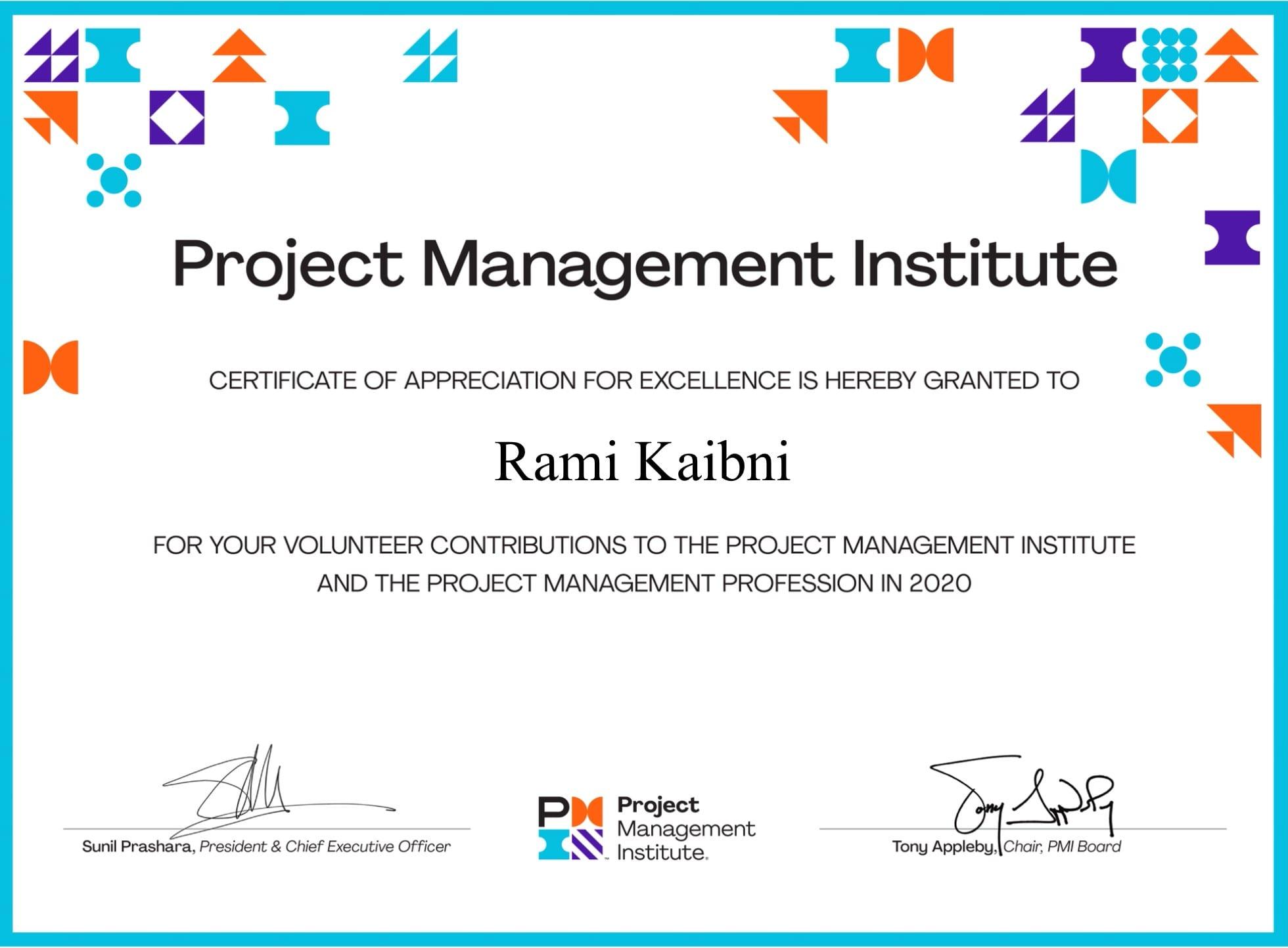 PMI Certificate of Appreciation 2020