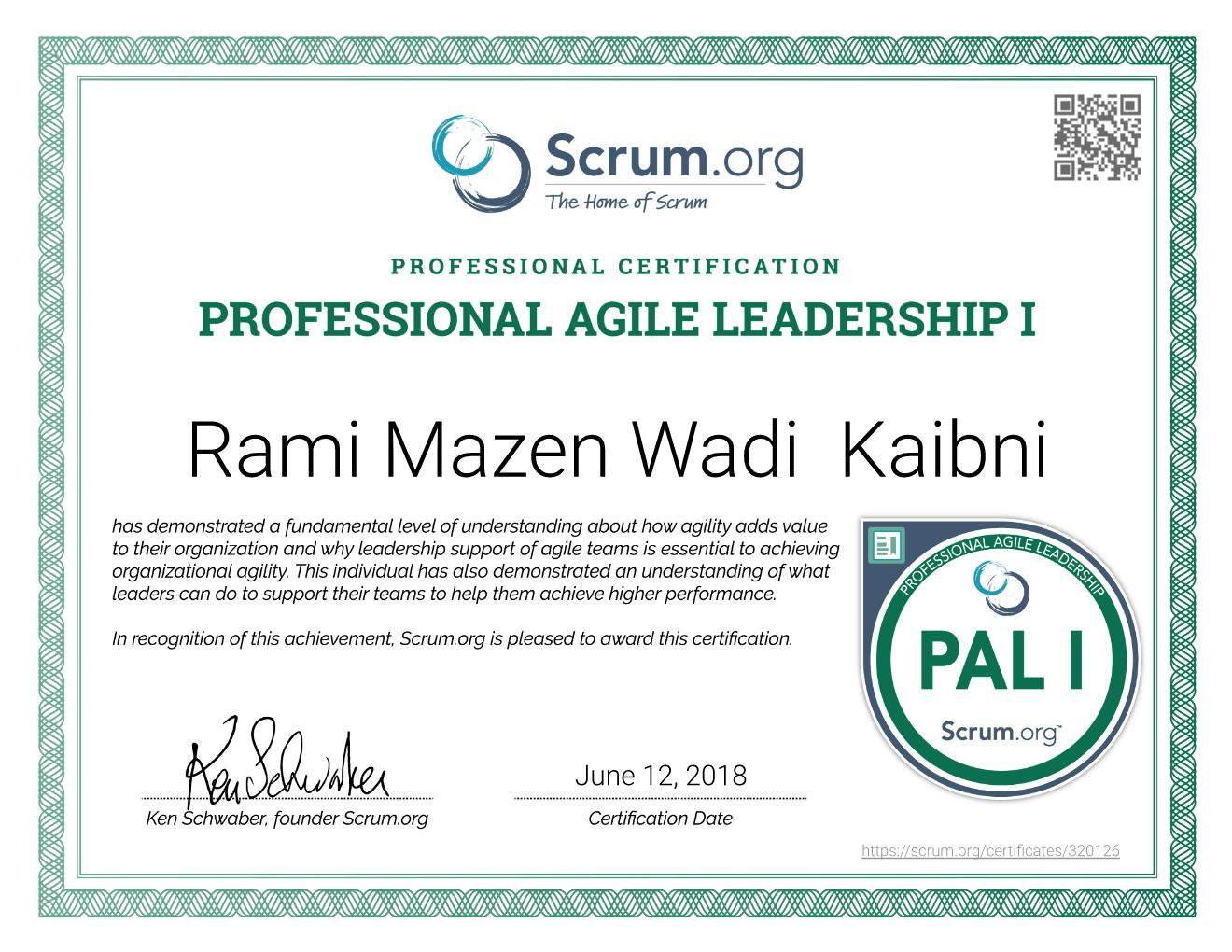 PAL I Certificate