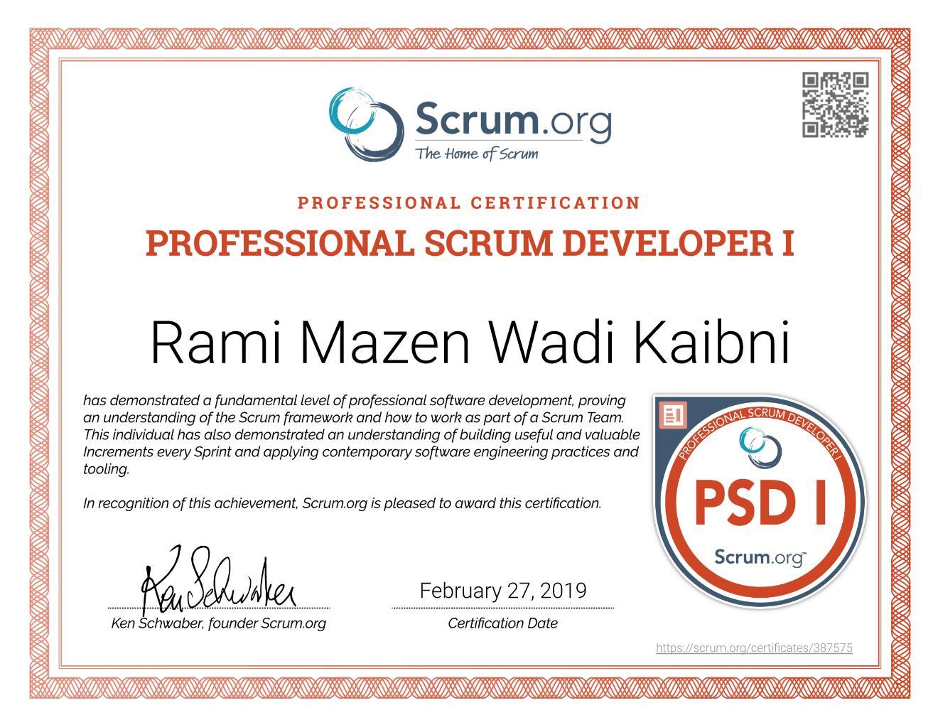 PSD I Certificate