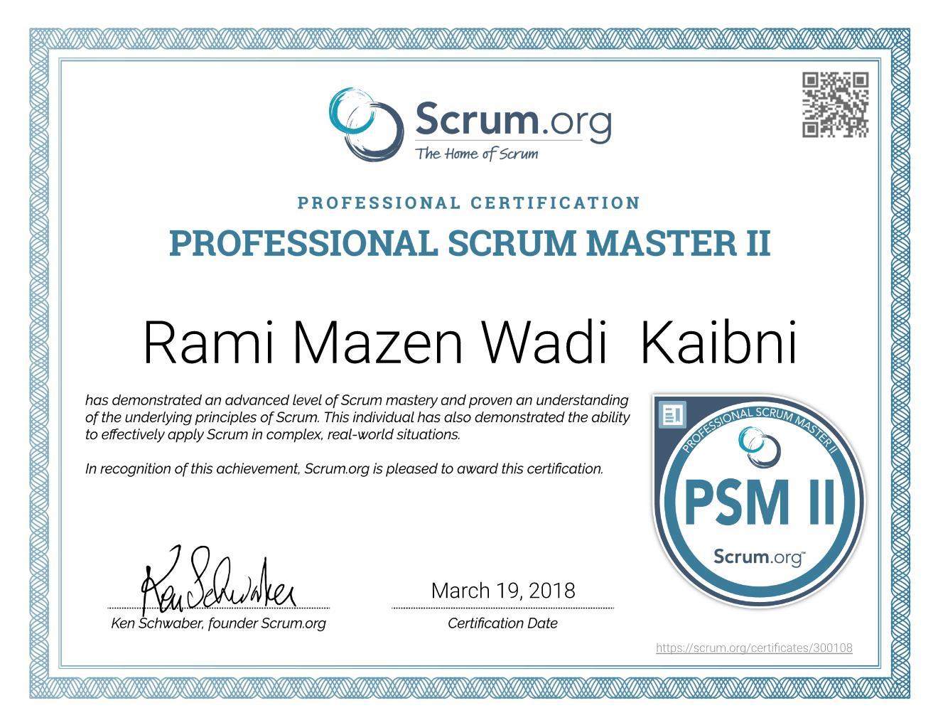 PSM II Certificate