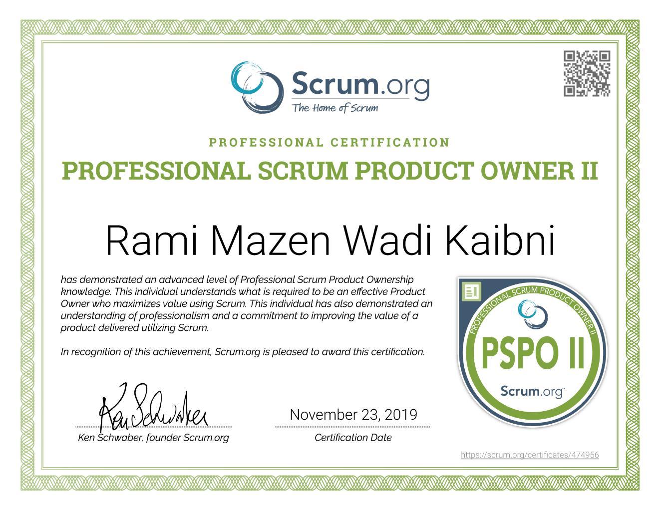 PSPO II Certificate