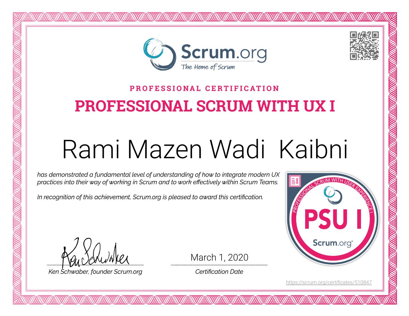 PSU I Certificate