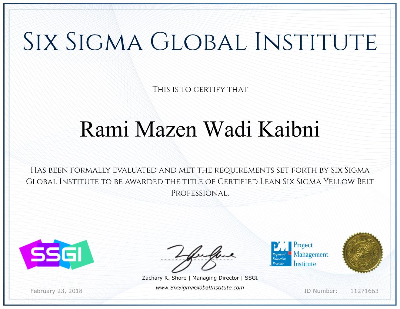 Lean Six Sigma Yellow Belt Professional (LSSYB)