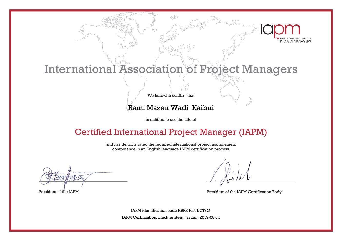 International PM Certificate