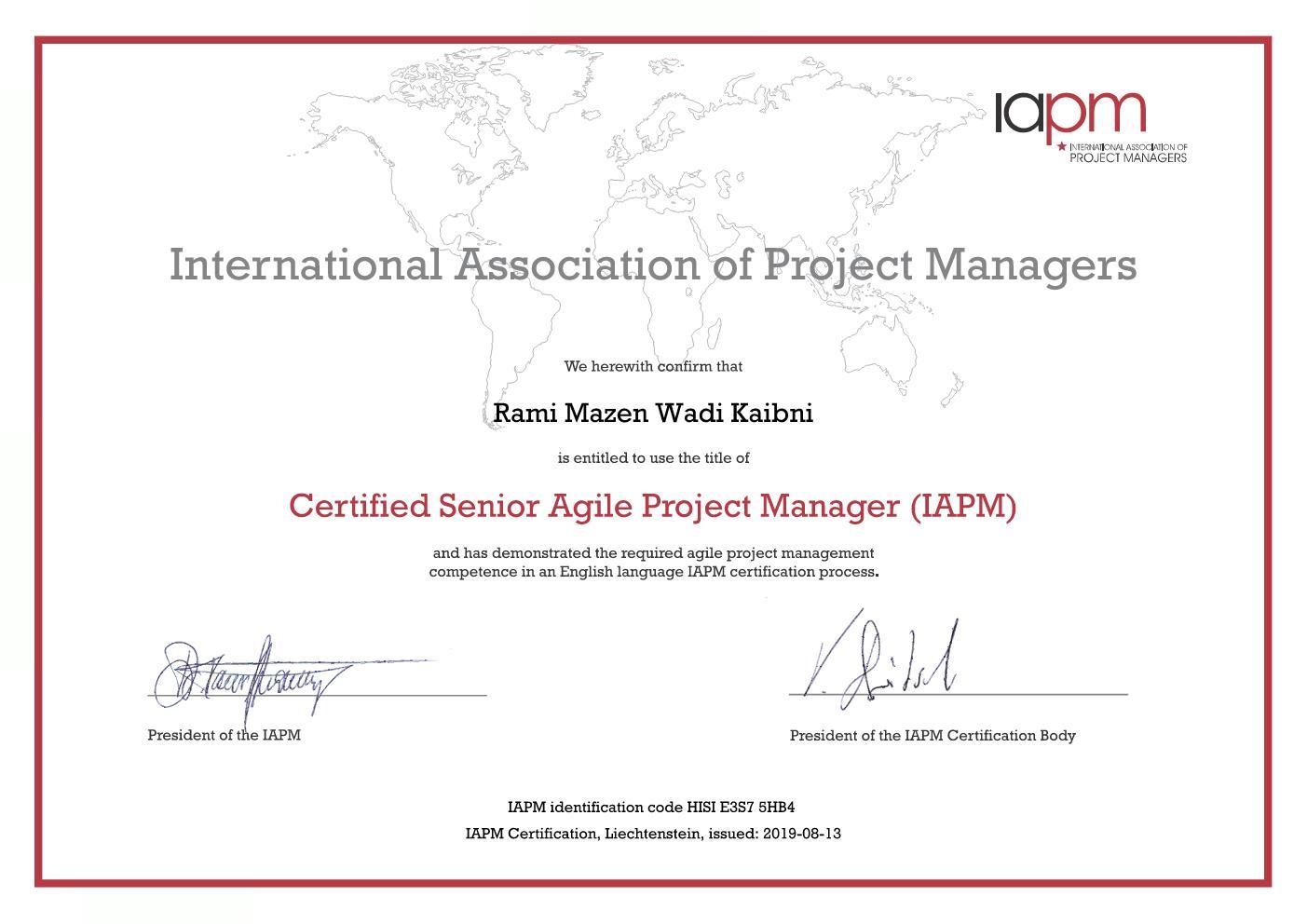 Senior Agile PM Certificate