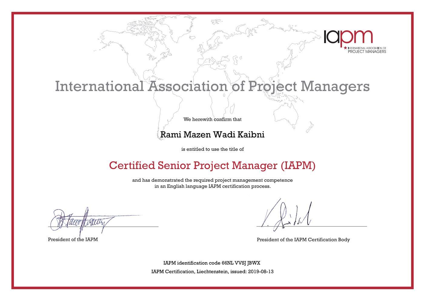 Sr. PM Certificate