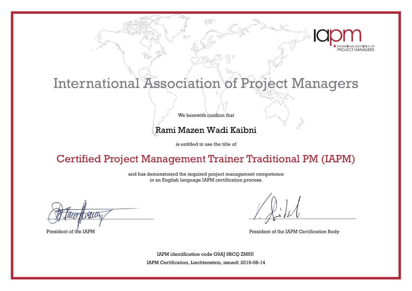 Trad. PM Trainer Certificate
